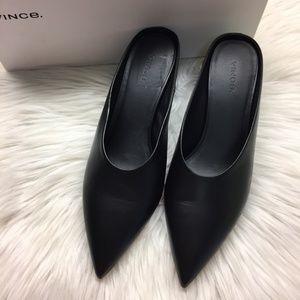 Vince Black Leather Slide Heels 8.5M